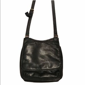 Fossil black leather snap and zip Crossbody